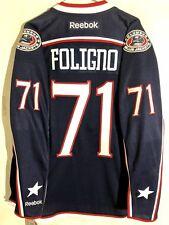 Reebok Premier NHL Jersey Columbus Blue Jackets Nick Foligno Navy Captain sz L