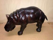 Vintage Mid Century Modern Leather Wrapped Glass Eye Hippopotamus Mcm Hippo