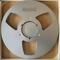 "Scotch 10"" Empty Metal Reel, 1/4"" tape, 3 Large Window Silver, w/Box + Bag"