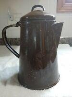 Antique Brown Enamel Coffee Pot