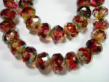 25 8x6mm Jonquil & Amethyst Blend Picasso Czech Fire polished Rondelle beads