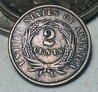1864 Two Cent Piece 2C Higher Grade Good Date Civil War US Copper Coin CC5865