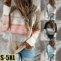 Women Casual Patchwork Sweater Lady V-Neck Long Sleeves Hooded Knit Blouse Tops