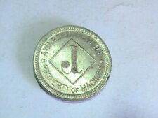 "GAME TOKEN  ""J"" SILVER TONED, NOT BRASS. PROPERTY OF MACHINE AWARDED FPR SKILL"