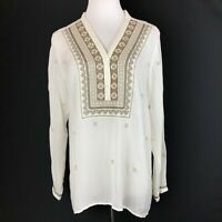 J Jill White Sheer Embroidered Popover Tunic Top Size Small