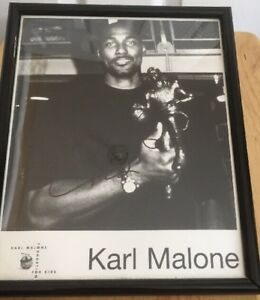 Karl Malone Signed Framed Picture Mvp Utah Jazz Autographed