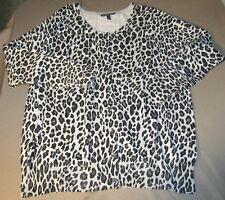 Lane Bryant Women's Size 22 24 Leopard Print Cardigan Sweater Gray Black Button