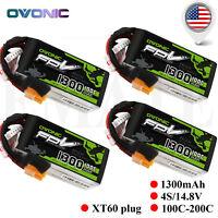 4P Ovonic 1300mAh 4S 14.8V 100C Lipo Battery XT60 Plug for FPV Drone Quad Heli