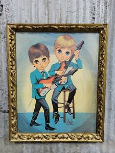 Vintage 1960s EVE Framed Print Big Eye Boys Playing Electric Guitars Beatles Era