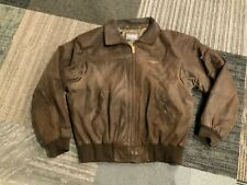 Wilsons Leather Mens Flight Bomber Jacket Distressed Brown Size XL