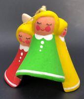 "VTG Piñata and Angel Bell Christmas Tree Ornament Set Lot 2.5"" Painted Ceramic"