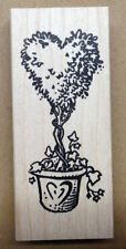 Mounted Rubber Stamps, Valentines Day, Floral Stamps, Heart Topiary, Topiaries