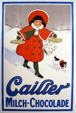4635.Caifer.milch.chocolade.girl in red coat.winter.POSTER.decor Home Office art
