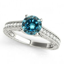 0.75 Carat Blue SI1 Diamond Solitaire Bridal Wedding Engagement 14k Gold Ring