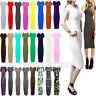 Ladies Women's Cap Sleeve Midi Bodycon Dress Plain Printed Jersey Dresses 8-14