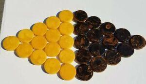 "30 Bakelite swirl Backgammon Chips 1 3/4"" X 1/4"" Butterscotch / Mississippi Mud"