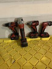 Milwaukee Power Tool Set - Drill,impact(non-brushless),grinder,light,4batt.