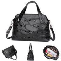 Leder Damen Tasche Handtasche Kreuzkörper Schultertasche Umhängetasche Schwarz