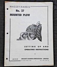 1954 MASSEY HARRIS MH No. 37 MOUNTED PLOW OPERATORS & ASSEMBLY MANUAL GOOD SHAPE