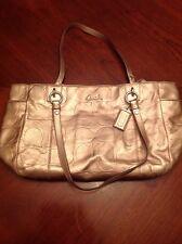 COACH Metallic Bronze Embossed Leather Purse Used Handbag Tote F17730