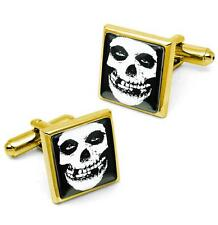 Gold Misfits Crimson Skull Glenn Danzig Glass Horror Punk Cufflink Set w/ Box