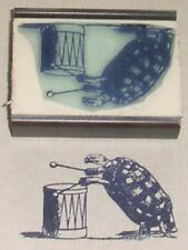 Turtle Playing Drum rubber stamp by Amazing Arts- cool!