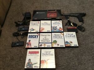 Sega Master System Console Bundle, 2 Controllers, 10 Games, Rambo/Rocky