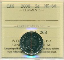 2008 Canada 5 Cent Certified ICCS MS-66