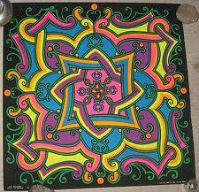 "1968 Psychedelic Blacklight Poster 23x23"" Arabesque by I.O. MacBeth"