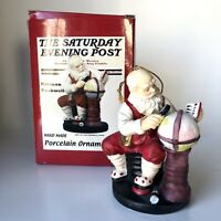 Norman Rockwell Saturday Evening Post Porcelain Santa Globe Christmas Ornament