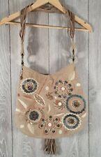 ESPRIT Canvas Shoulder Bag Ladies Hippy Boho Festival Holiday Beaded Clasp