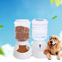 2 pc Automatic Pet Food Drink Dispenser Dog Cat Feeder Water Bowl Dish 3.5L