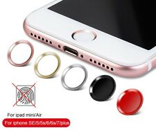Fingerprint Touch ID Home Button Metal Sticker for iPhone- White w/ Blue Ring