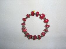 beads on memory wire bracelet red coral and brass
