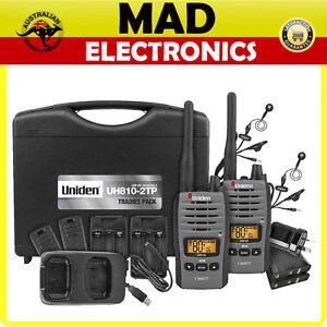 UNIDEN UH810S-2TP Tradies Twin Pack 80 Channel 1 Watt UHF Handheld Radio USB Chg