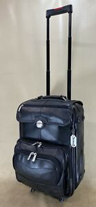 """McKlein Cowhide Black Leather 19"""" Wheeled Upright Carry On Business Suitcase"""