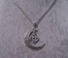 Tibetan Silver Filigree Crescent Moon Celtic Knot Pendant Necklace.Handmade