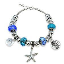 Blue Crystal & Glass Nautical Bead Charm Bracelet