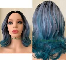 """Green Wig Wig Silver Gray Ombre Black Medium Length Wavy Layered Lace Top 14"""""""