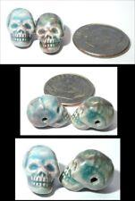 ~Beautiful!~ 3 pcs. Small RAKU Glaze SKULL Beads - Horizontal Drill