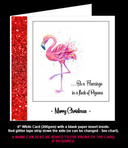 'Be a Flamingo in a Flock of Pigeons' Birthday Card, Friend Christmas Card