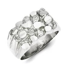 925 Sterling Silver Men's Polished Nugget Ring Size 10
