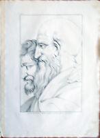 ✅Stampa incisione 1850-Ritratto di Cardinal Bembo-Scuola Atene Raffaello-CLXXXIX