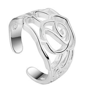 925 Sterling Silver Adjustable Rose Flower Ring Finger Band Thumb UK Seller