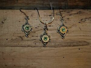 Handmade Bullet Gold Necklace & Earrings, Brass 40's & Crystal S-611