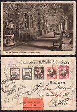 STORIA POSTALE Vaticano 1938 Cartolina Raccomandata a Roma (FILA) al Mittente