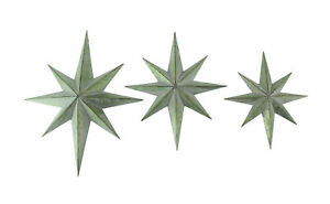 Set of 3 Mid-Century Galvanized Zinc Finish 8 Pointed Compass Star Wall Hangings