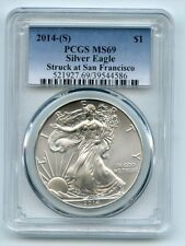 2014 (S) $1 American Silver Eagle Dollar 1oz PCGS MS69 Struck at Sanfrancisco