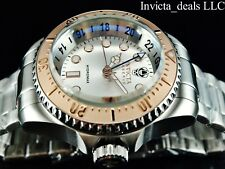 Invicta Men's 52mm Reserve SKULL Hydromax Swiss GMT Silver Dial Rose Bezel Watch