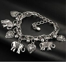 Silver Tone, Elephant & Hearts Charmed Bracelet, Lobster Clasp,Animal Jewelry